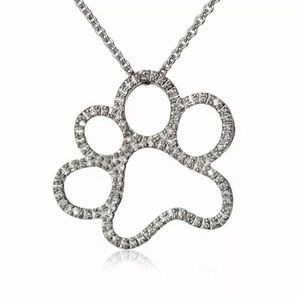 Cubic Zirconia Paw Print Necklace